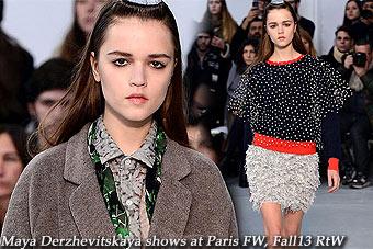 Maya Derzhevitskaya at Milan FW, Fall13 RtW