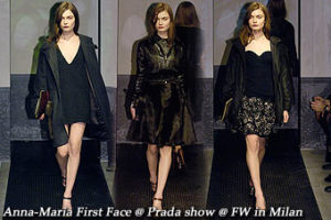 Anna-Maria First & Last Face @ Prada Show in Milan